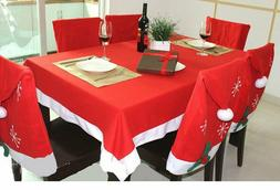 Christmas Tablecloth and Santa Hat Chair Covers for Kitchen