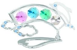 Chrome Plated Rainbow w/Dolphin Free Standing with Clear Swa