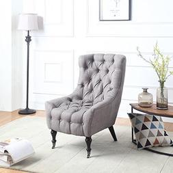 Classic Tufted Linen Fabric Shelter Wing Living Room Chair,