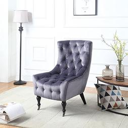 Classic Tufted Velvet Shelter Wing Living Room Chair, Accent