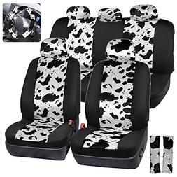 ComfySeats Velvet Animal Car Seat Covers Two Tone Cow Patter