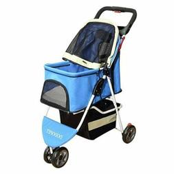 Comz Deluxe Folding Three Wheel Pet Carrier Stroller Cart fo