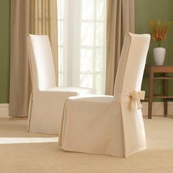 Sure Fit Cotton Duck Long Dining Room Chair Slipcover Natura