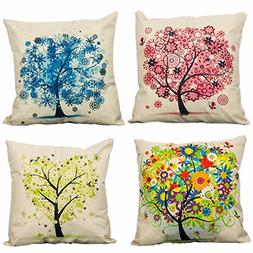 4-Pack Cotton Linen Sofa Home Decor Design Throw Pillow Case