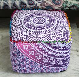 Cotton Pouf Cover Indian Floral Printed Ottoman Pouf Cover F