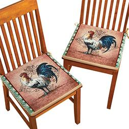Country Rooster 2 Piece Chair Seat Cushion Set with Slip-Res