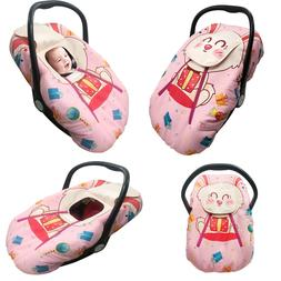 Cozy Cover Infant Car Seat Cover Basket Buggy Cute Pink Rabb