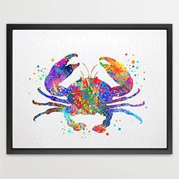 Dignovel Studios 8X10 Crab Sea Life Watercolor illustration