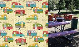 Custom Stay Put Reusable Fabric Fitted Tablecloth for 6 Ft P