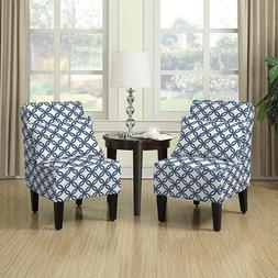 Dani Armless Accent Chair, Set of 2, Honeycomb Navy Blue