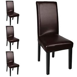 Fuloon Dining Chair Covers,Solid Pu Leather Waterproof and O