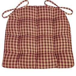 Barnett Products Dining Chair Pad with Ties - Checkers Red &
