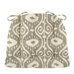 Dining Chair Pad with Ties - Bali Ikat Stone Grey - Standard