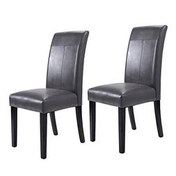 Giantex Set of 2 Dining Chairs PU Leather Accent Side Armles