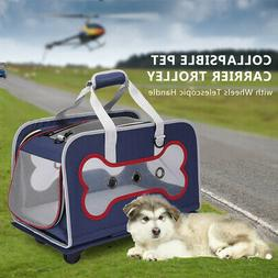 Dog Carrier Trolley with Wheels Telescopic Pet Bag Breathabl