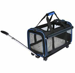 Dog Carrier With Wheels Rolling Small Pets Travel Soft Sided