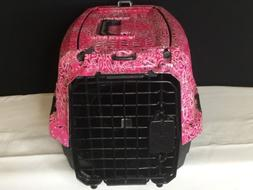 Dog Cat Pet Carrier Travel Crate Kennel Small Pink Bandanna