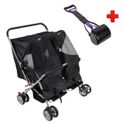 Double Carriage Pet Stroller Folding Pet Carrier for Cats an