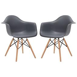 Poly and Bark Vortex Arm Chair, Grey, Set of 2