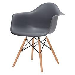 Poly and Bark Eames Style Molded Plastic Dowel-Leg Armchair