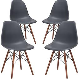 Poly and Bark Vortex Side Chair Walnut Legs, Grey, Set of 4