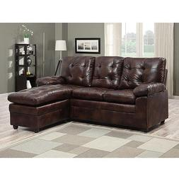 Buchannan Faux Leather Sectional Sofa With Reversible Chaise