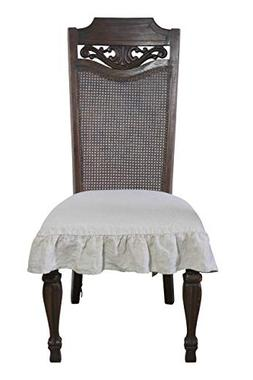100% Flax Linen Dining Room Chair Seat Cover with Ruffle Nat