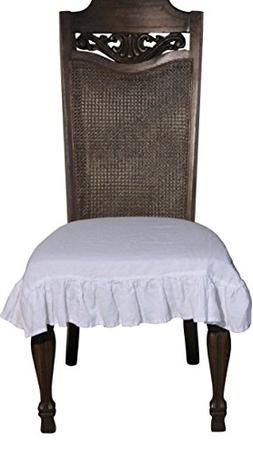 100% Flax Linen Dining Room Chair Seat Cover with Ruffle in