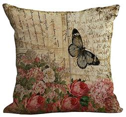 Floral Butterfly Throw Pillow Cover Sham Office Chair Seat B
