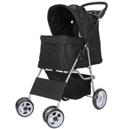 Four Wheel Pet Stroller For Cat Dog and More Foldable Carrie