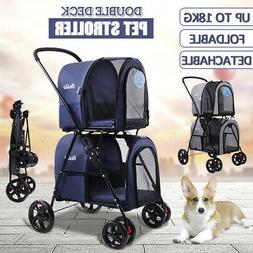 Dog Double Deck Stroller Cat Walk Folding Travel Cart for Sm
