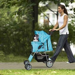 Folding Pet Stroller Four Rotating Wheels Pet Carrier for Ca