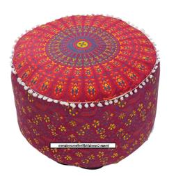 FootStool Seat Cover Pouf Red Flower Print Round Decor Cotto