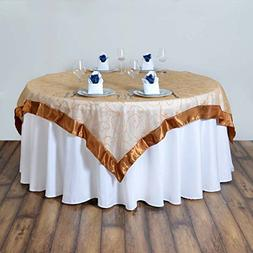 "Efavormart Gold Organza Embroidered Table Overlay 85""x85"""