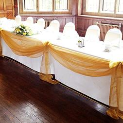"vLoveLife Gold 197""x53"" Sheer Organza Top Table Swag Fabric"