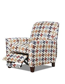 Klaussner Grady High Leg Reclining Chair, Herringbone Print