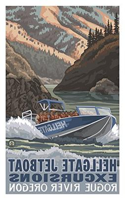 Hellgate Jet Boat Grants Pass Oregon Travel Art Poster by Ar