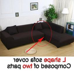High Quality Stretch Suede Fabric L-shape Loveseat Sofa Couc