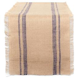 DII CAMZ38413 French Blue Double Border Burlap Table Runner,