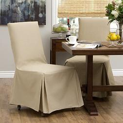 2 Piece Khaki Parsons Chair Slipcover, Form Fitting Style, S