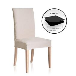 TOYABR Knitted Stretchy Dining Chair Covers Jacquard Spandex