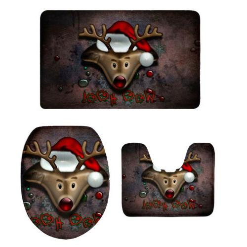 3 PC Toilet Seat Cover Novelty Christmas Holiday Bathroom Ma