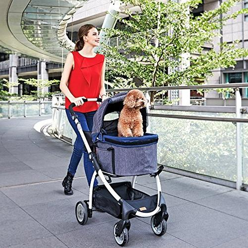 ibiyaya 4 Dog Stroller 3-in-1 Carrier + Car in for Travel One or Multiple and Cats with Suspension