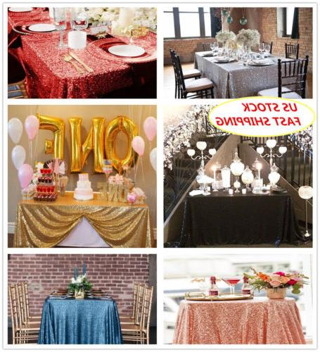 """60""""x102""""Sequin Tablecloth Sparkly Rectangular Tablecloth Wed"""