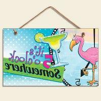 "New Flamingo & Tropical Drink Sign Plaque "" It's 5 O'clock S"