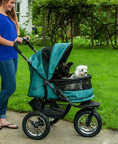 Pet NO-ZIP Pet Stroller, for or Multiple Dogs/Cats, Weather Cover Included, Large Air Tires