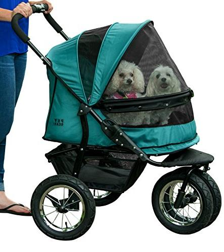 Pet Pet Stroller, for Multiple Dogs/Cats, Plush Weather Cover Air Tires