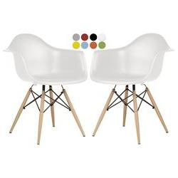 La Valley Set of 2 Armchairs Eames Style DAW Molded Plastic