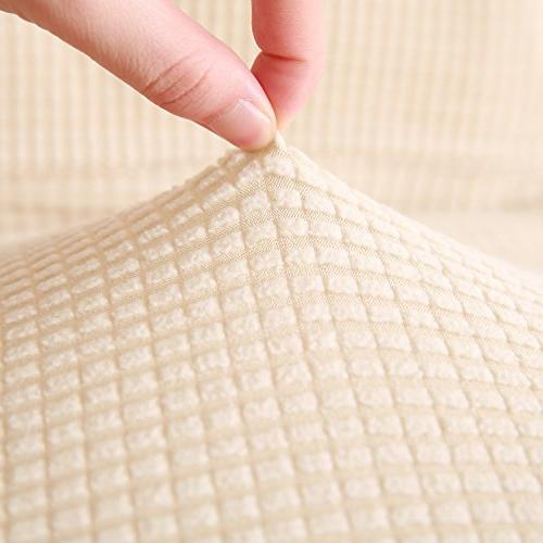 Deconovo Beige SlipCover Loveseat Loveseat Cover Elasticity Anti-Wrinkle Solid Print Slipcover