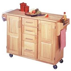 Home Styles Breakfast Bar Kitchen Cart with Natural Wood Top
